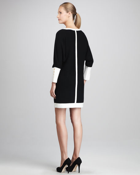 Cashmere Button-Cuffed Dress