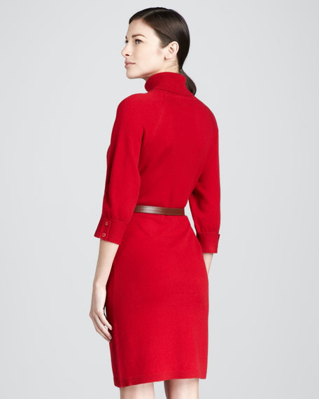 Oversized Belted Cashmere Turtleneck Dress