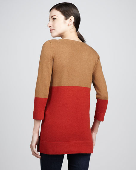 Colorblock Three-Quarter Sweater