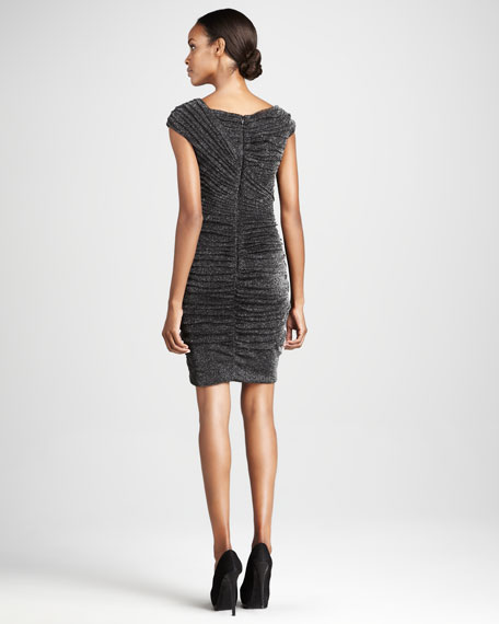Cap-Sleeve Metallic Knit Cocktail Dress