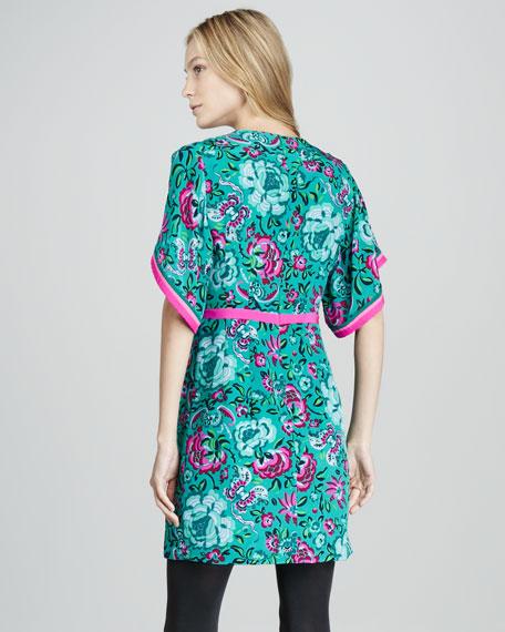 Lotus Printed Kimono Dress