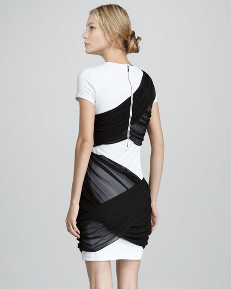 Short-Sleeve Dress with Illusion Drape