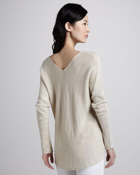 Vince Knit V Neck Linen Sweater Parchment