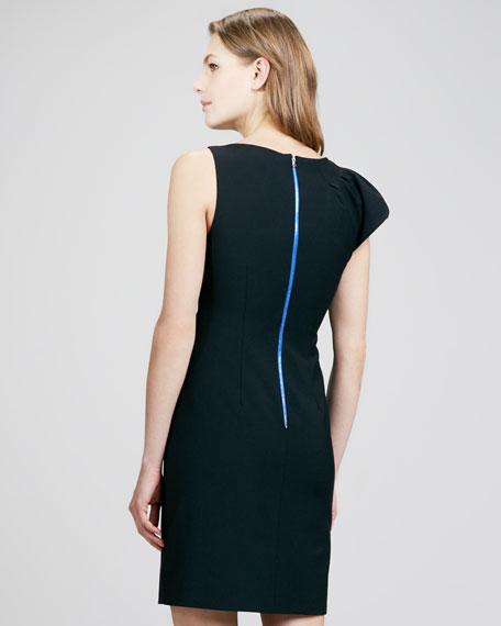 Flute-Shoulder Fitted Dress