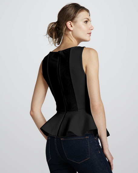 Sleeveless Ponte Peplum Top, Black