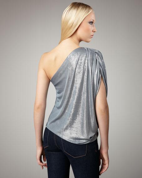 Hannah Metallic One-Shoulder Top