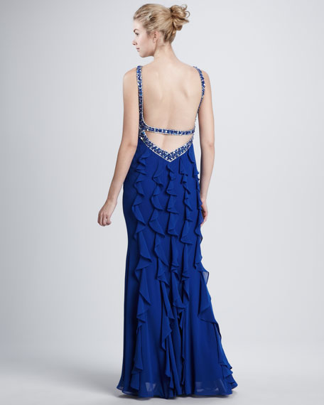 Bead-Trim Ruffle-Back Gown