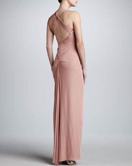 Twisted Racerback Jersey Gown, Muted Pink