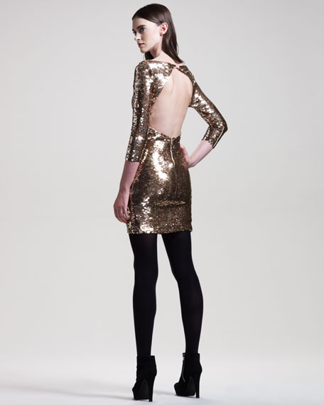 Sequined Long-Sleeve Dress