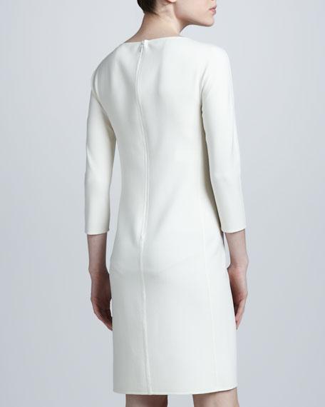 Crepe Dolman-Sleeve Dress, White