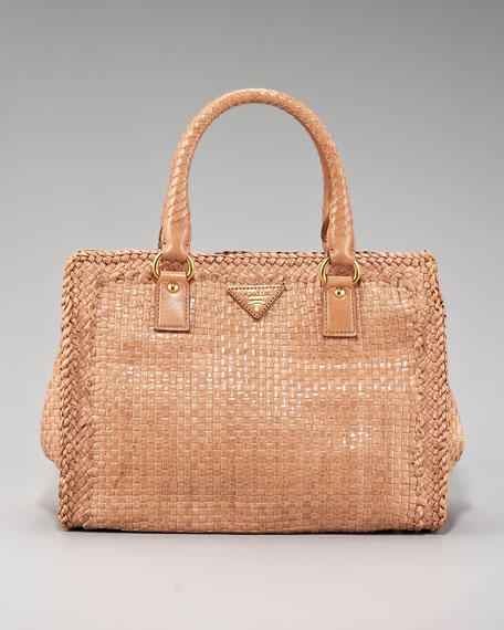 Madras Woven-Leather Tote