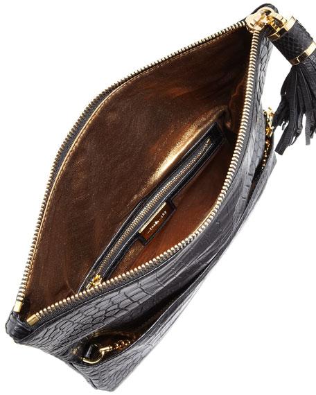 michael kors large tonne crocodile embossed fold over clutch bag. Black Bedroom Furniture Sets. Home Design Ideas