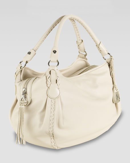 Braided-Trim Rounded Satchel