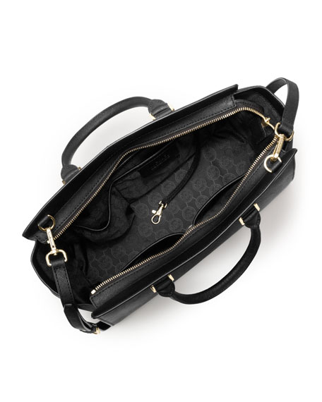 Selma Large Top-Zip Satchel Bag, Black