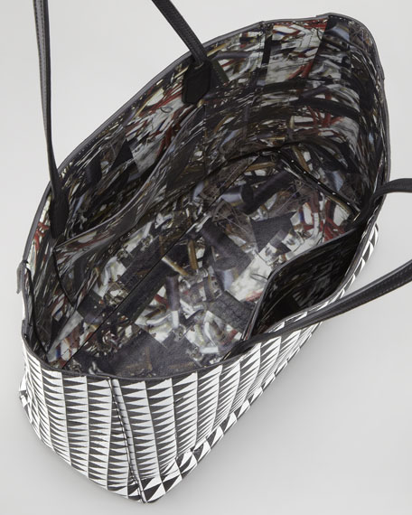 Triangle-Print Shopping Tote Bag, Black/White