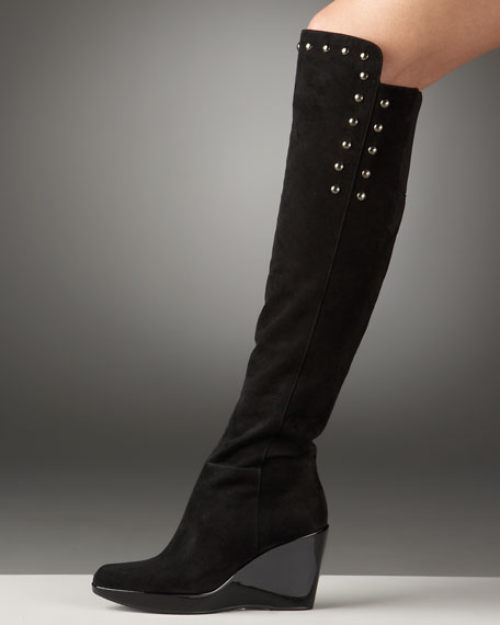 Over-The-Knee Studded Wedge Boot