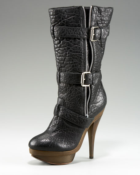 Zip and Buckle Mid-Calf Boot