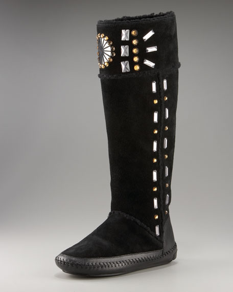 Embellished Shearling Tall Boot