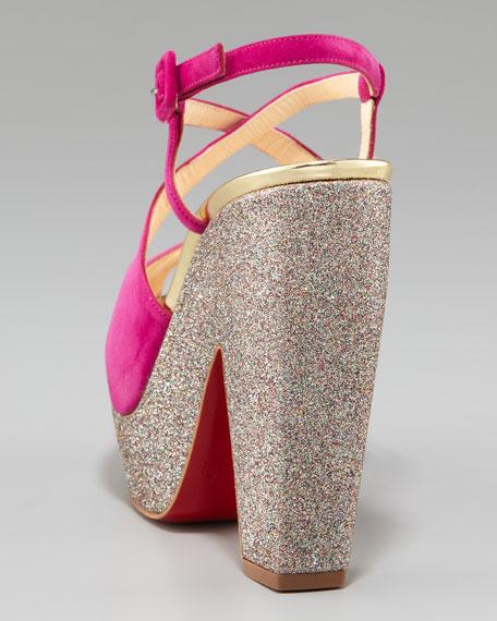 Suede Glitter-Platform Sandal