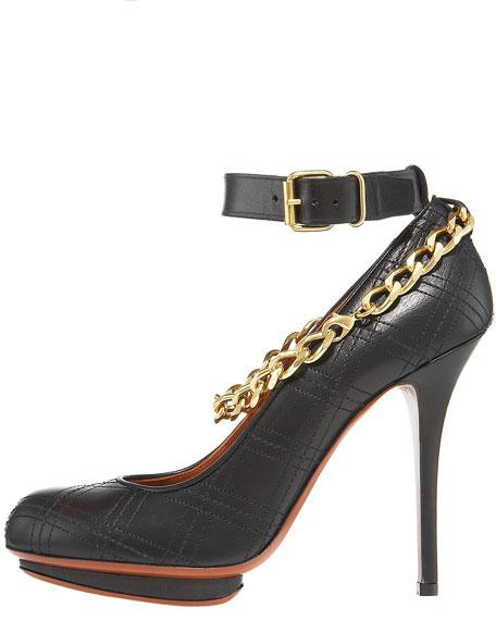 Quilted Chain-Anklet Pump