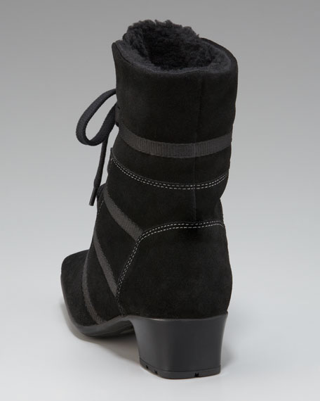 Lace-Up Suede Ankle Boot