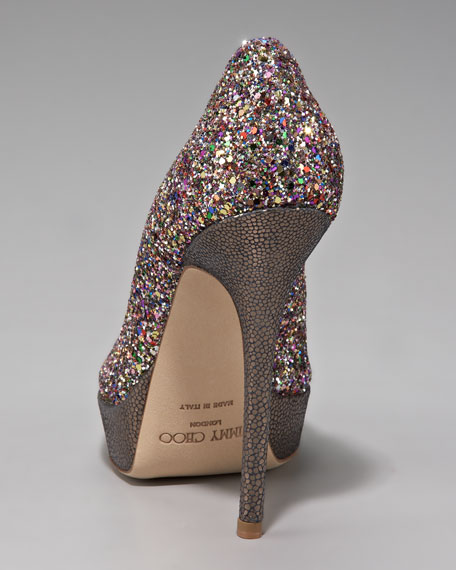 Crown Glitter Platform Pump