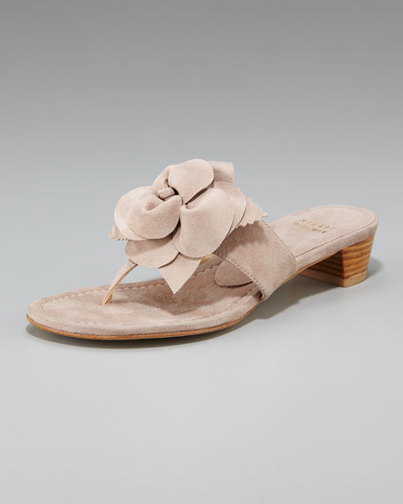 Flower-Detail Thong Sandal