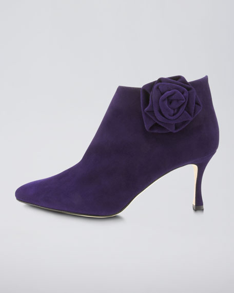Malee Side-Flower Suede Bootie