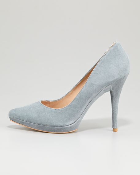 Daina Suede Pointed-Toe Pump, Powder Gray