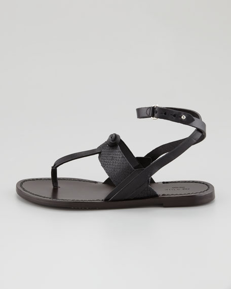 Sigrid Ankle-Wrap Thong Sandal, Black