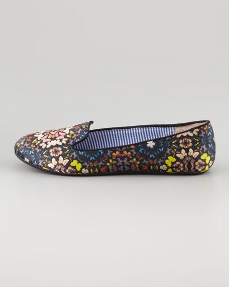 Yasmine Butterfly-Print Flat Slipper