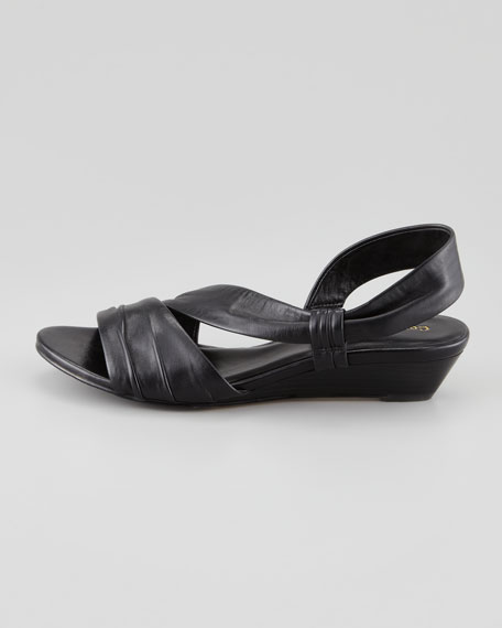 Air Natalie Low-Wedge Leather Sandal, Black