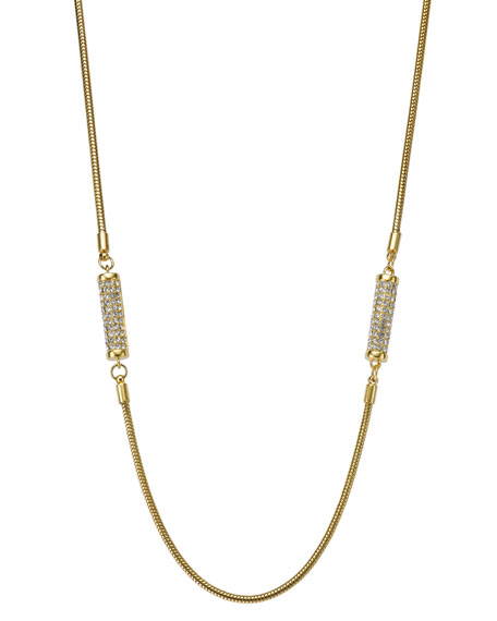 Long Pave Barrel Necklace, Golden
