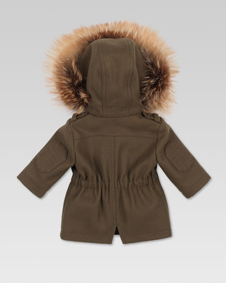 Fur-Trim Parka, Military Green