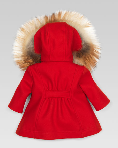 Fur-Trim Parka, Berry Red