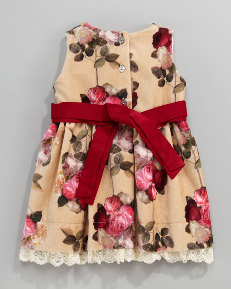 Velour Floral-Print Dress