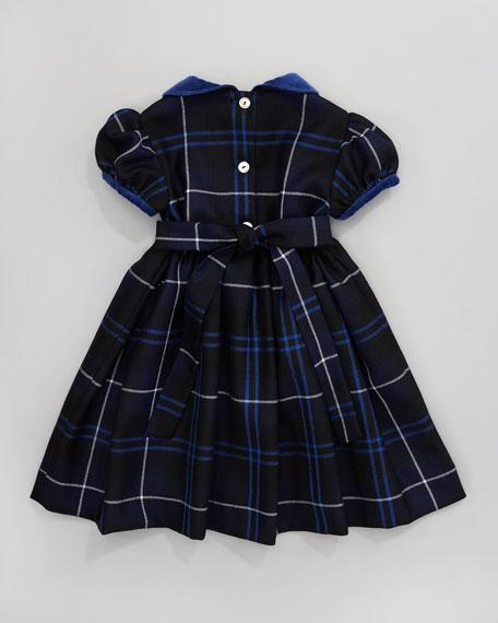 Velvet-Trim Plaid Dress