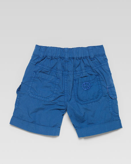 Poplin Cargo Shorts, Blue