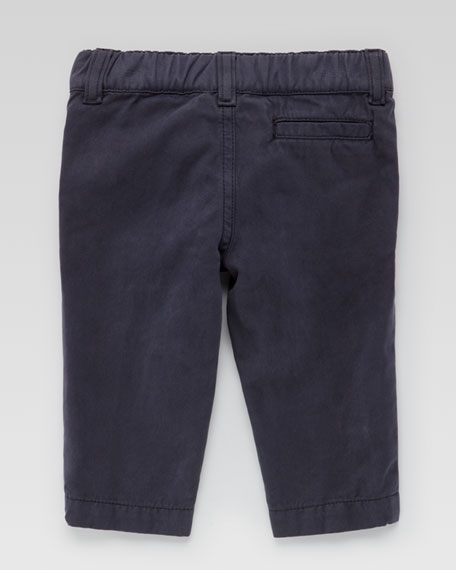 Flat-Front Cotton Slacks, Navy
