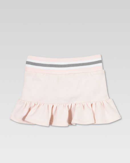 Jersey Ruffle Skirt, Powder Pink