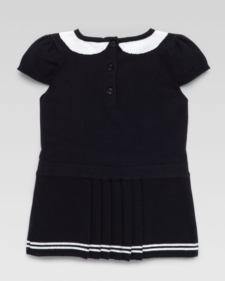 Intarsia Bow-Collar Dress, Navy