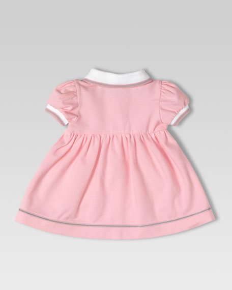 Stretch Pique Polo Dress, Medium Pink