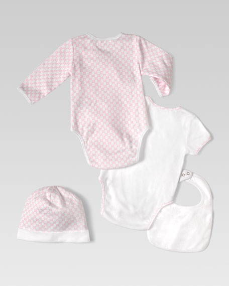 Mini GG Interlock Jersey Four-Piece Gift Set, Optical White/Pink