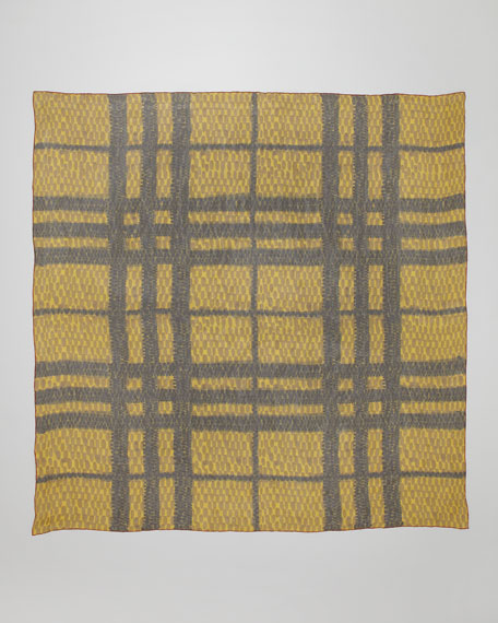 Dot/Check-Print Silk Scarf, Chrome Yellow