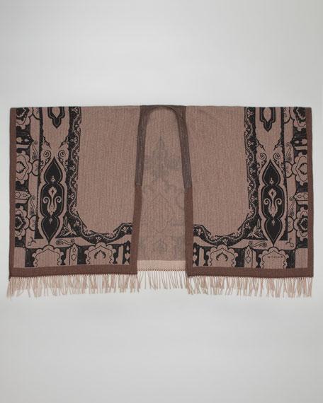 Herringbone Paisley-Print Cape