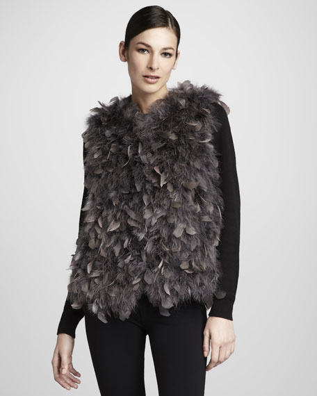 Dyed Turkey Feather Vest, Gray