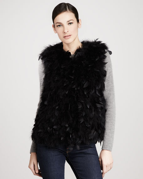 Dyed Turkey Feather Vest, Black