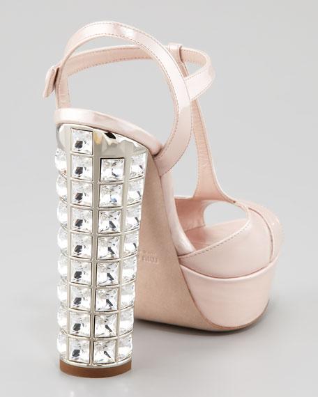 Crystal-Heel T-Strap Platform Sandal, Cipria