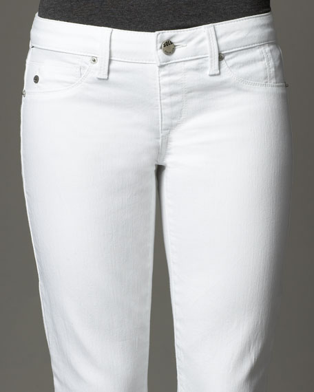 Astor Place Pull-On Cropped Jeans, White