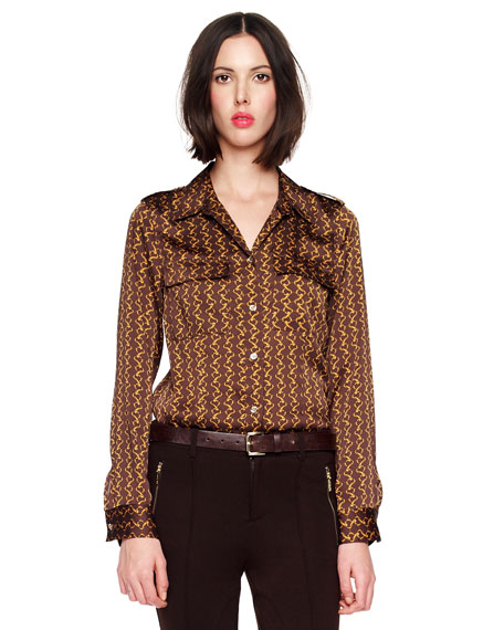 Chain-Print Satin Blouse